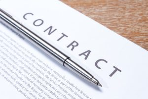 Business contract with pen